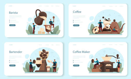 Barista web banner or landing page set. Bartender making a cup of hot Ilustracja