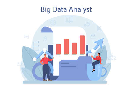 Business big data analysis and analytics concept. Chart and graph Ilustrace