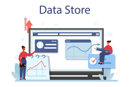 Business big data analysis online service or platform. Chart and graph