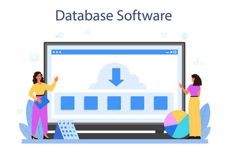 Data base administrator online service or platform. Female and male
