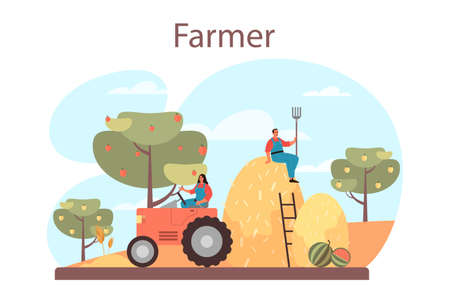 Farmer concept. Farm worker on the field, watering plants and feeding