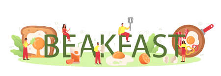 Breakfast with tasty fried eggs typographic header. Scrambled
