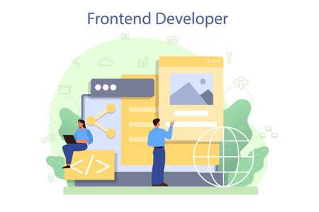 Frontend developer concept. Website interface design improvement