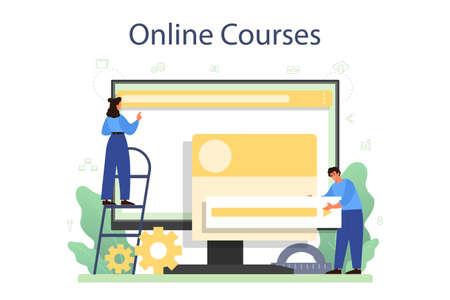 Frontend developer online service or platform. Website interface