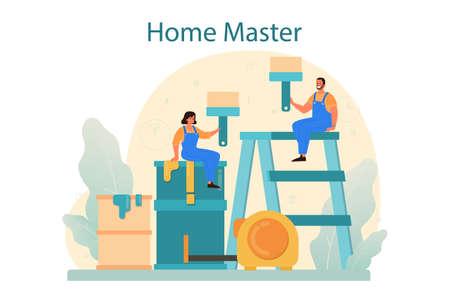Home master concept. Repairman applying finishing materials