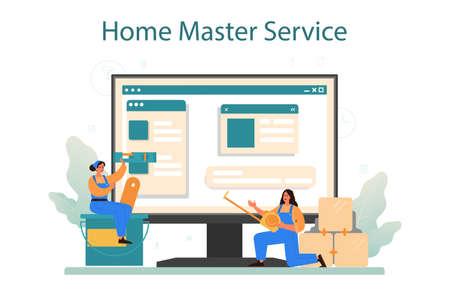 Home master online service or platform. Repairman applying finishing
