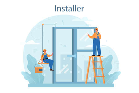 Installer concept. Worker in uniform installing constructions. Professional