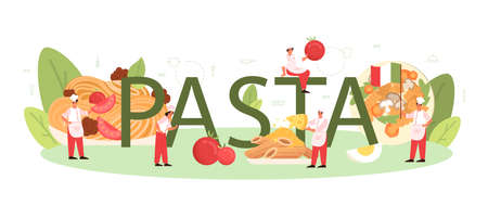 Pasta typographic header. Italian food on the plate. Delicious Ilustrace