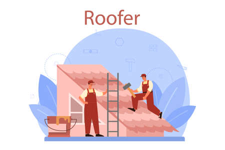 Roof construction worker. Building fixing and house renovation. Vektorgrafik
