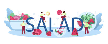 Fresh salad in a bowl typographic header. Peopple cooking organic