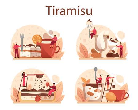 Tiramisu dessert set. People cooking delicious italian cake. Sweet slice
