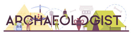Archaeologist typographic header. Ancient history scientist, paleontologist