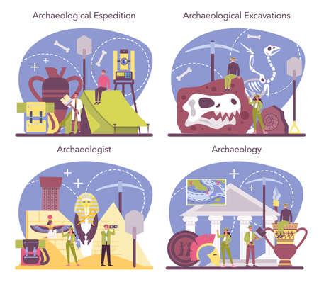 Archaeologist concept set. Ancient history scientist, paleontologist.