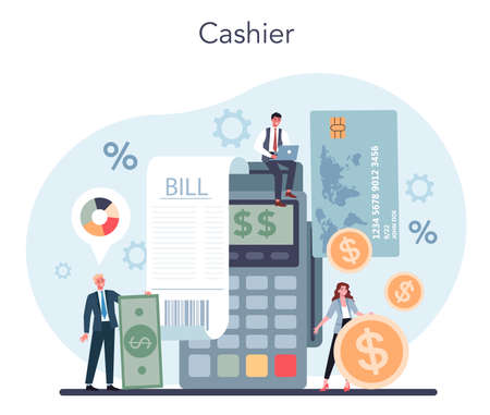 Cashier concept. Worker behind the cashier counter