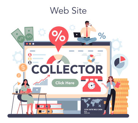 Debt collector online service or platform. Pursuing payment  イラスト・ベクター素材