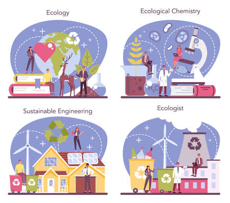 Ecologist set. Scientist taking care of nature and study ecological