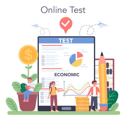 Economy school subject online service or platform. Student
