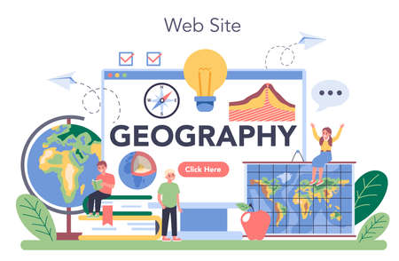 Geography class online service or platform. Studying the lands