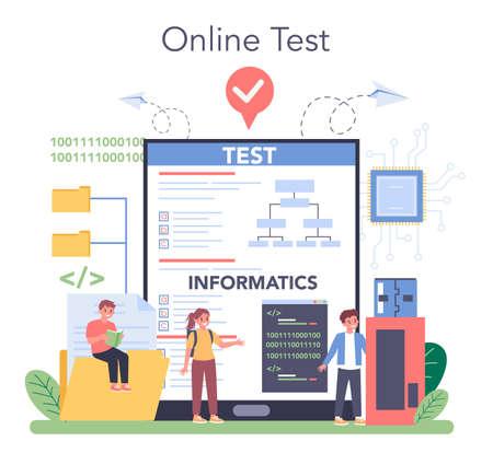 IT education online service or platform. Student write software Ilustración de vector