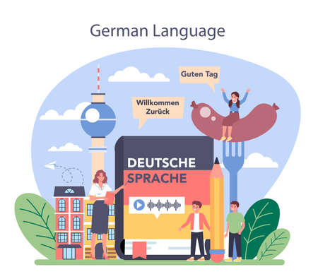 German learning concept. Language school german course. Study