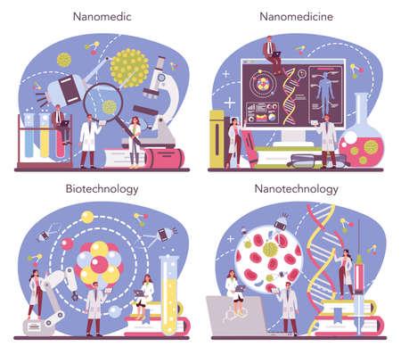 Nanomedic set. Scientists work in labarotary on nanotechnology.