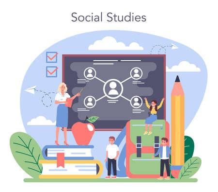 Sociology school subject. Students studying society, pattern Illusztráció