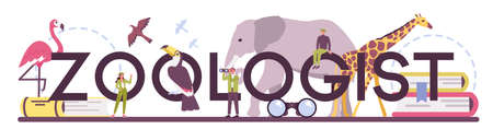 Zoologist typographic header. Scientist exploring and studying Ilustracja