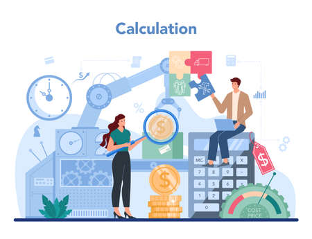 Accountant office manager. Professional bookkeeper. Concept of the tax Ilustración de vector