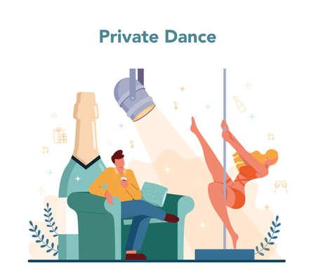 Female stripper concept. Pole dancing girl in club, stripper
