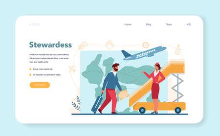 Stewardess web banner or landing page. Beautiful female flight