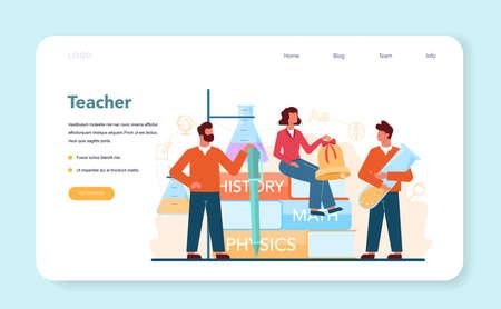 Teacher web banner or landing page. Profesor planning 向量圖像
