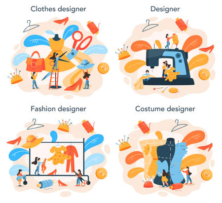 Fashion or clothes designer concept set. Professional tailor sewing