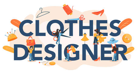 Clothes designer typographic header. Professional tailor sewing clothes