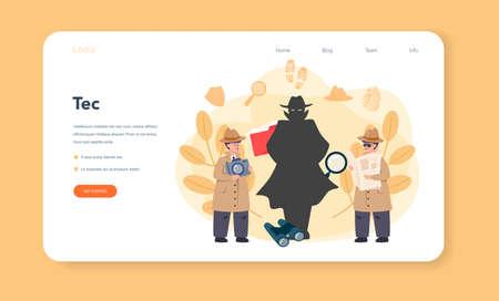 Professional detective web banner or landing page. Agent Ilustración de vector