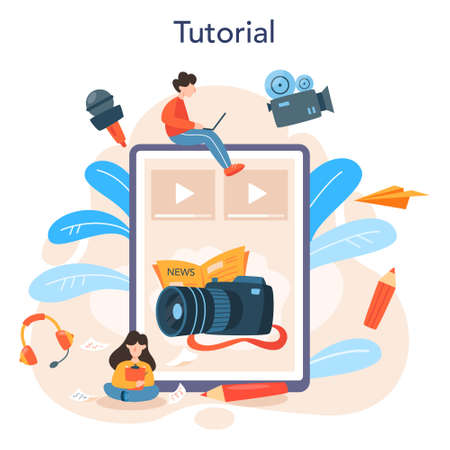 Journalist online service or platform. TV reporter with microphone Ilustrace