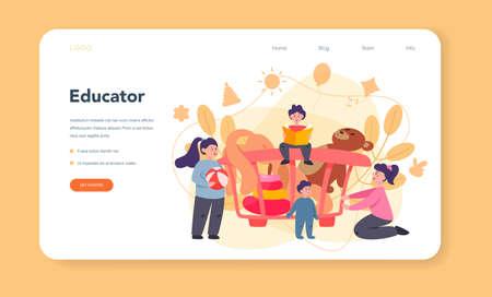 Kindergartener web banner or landing page. Professional nany 向量圖像