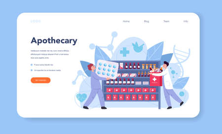 Pharmacy web banner or landing page. Pharmacist holding 向量圖像