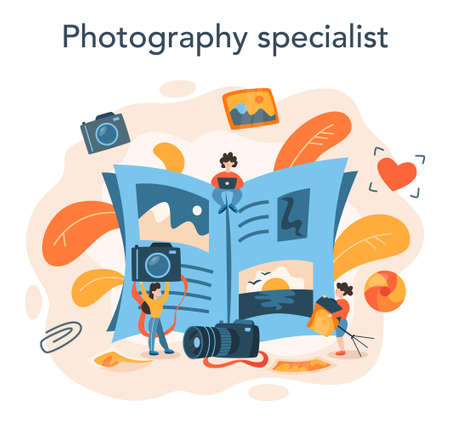 Photographer concept. Professional photographer with camera taking 向量圖像