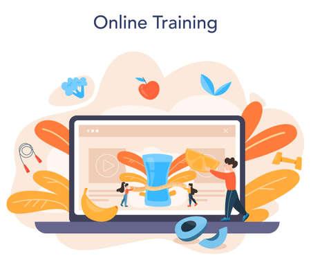 Slimming specialist online service or platform. Diet, plan, Illusztráció