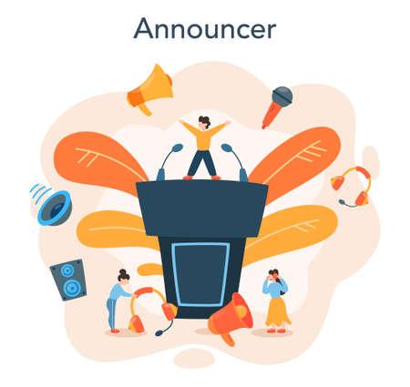 Professional speaker, commentator or voice actor concept