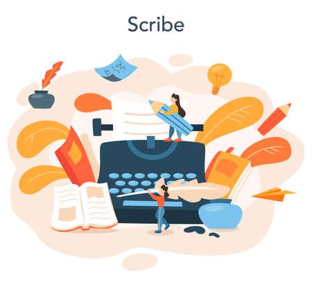 Professional writer or journalist concept illustration. Idea of creative Ilustración de vector