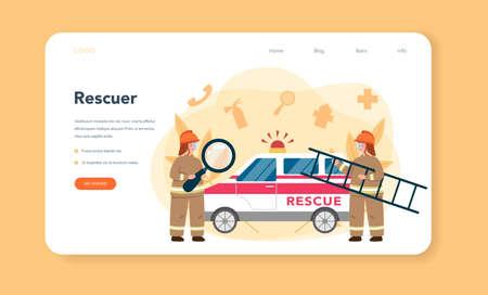 Urgency rescuer help web banner or landing page. Ambulance