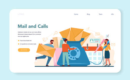 Secretary web banner or landing page. Receptionist answering calls