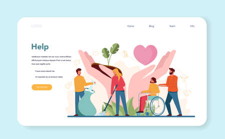 Volunteer help web banner or landing page. Charity community