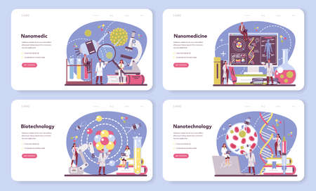 Nanomedic web banner or landing page set. Scientists work in labarotary