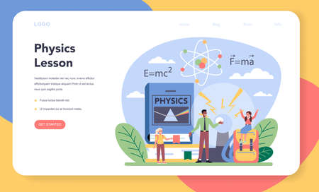 Physics school subject web banner or landing page. Scientist