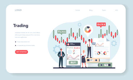 Trader, financial investment web banner or landing page. Buy Vecteurs