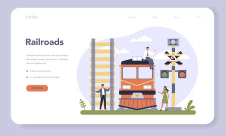 Transportation sector of the economy web banner or landing page.