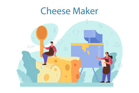 Cheese maker concept. Professional chef making block of cheese Иллюстрация