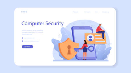 Cyber or web security specialist web banner or landing page